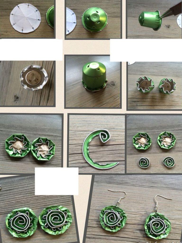 flores con cápsulas de café verdes