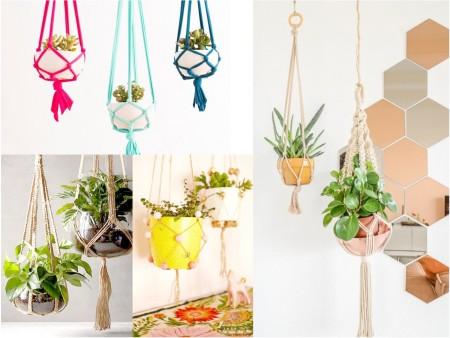 decoración con macramé y plantas colgantes
