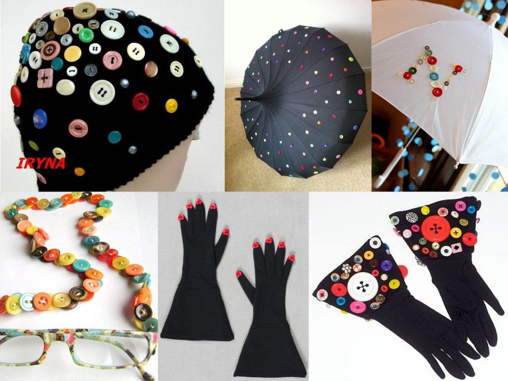 guantes con botones de colores
