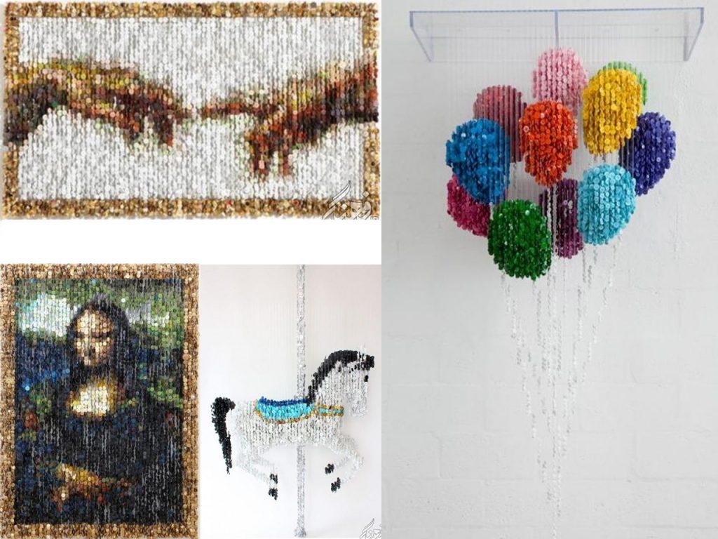 hacer esculturas con botones de colores