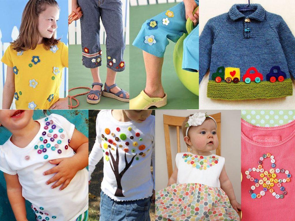 ropa para niños con botones de colores