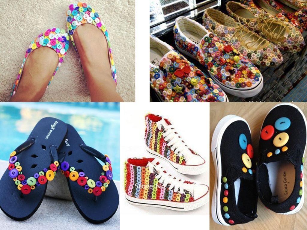 sandalias con botones de colores