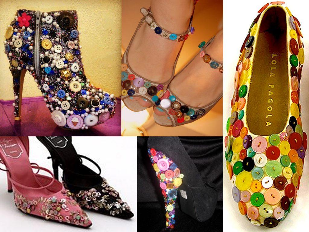 zapatos con botones de colores