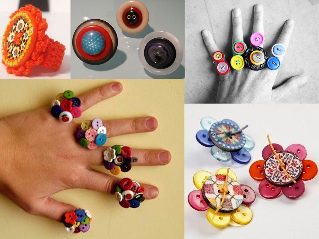 anillos con botones de colores