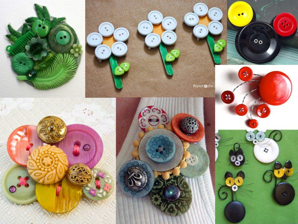 broches con botones de colores