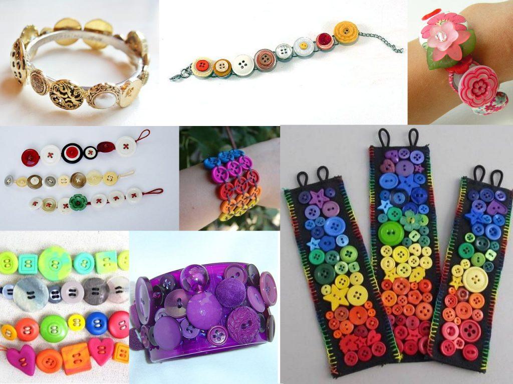 brazaletes con botones de colores