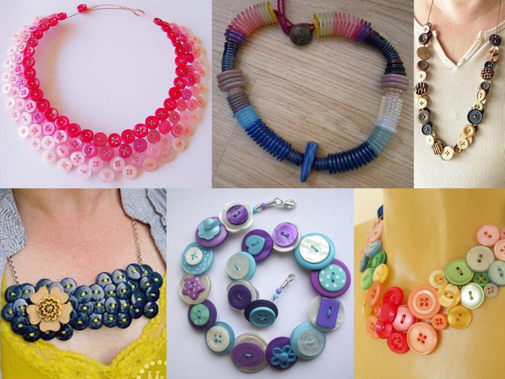 hacer collares con botones de colores