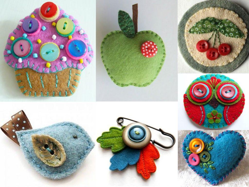 botones de colores con fieltro