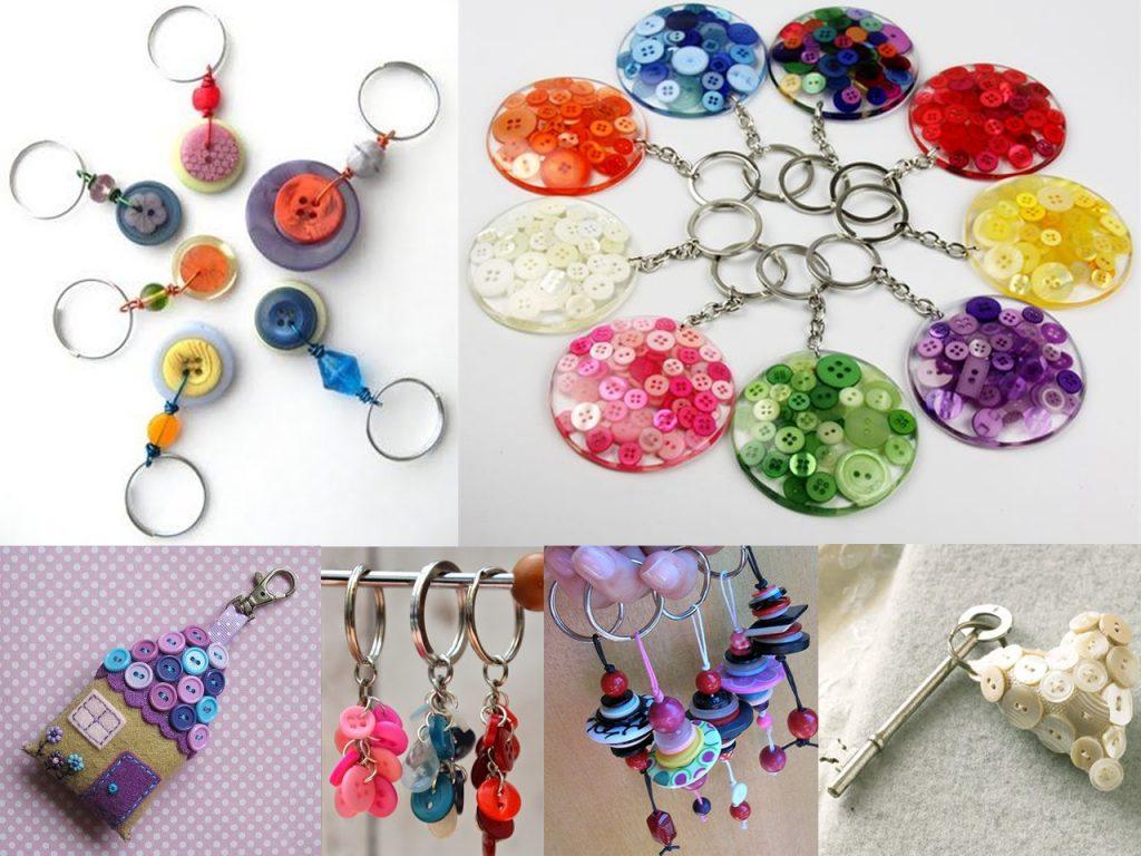 hacer llaveros con botones de colores