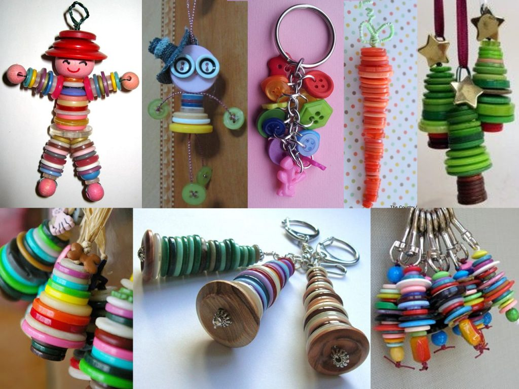 llaveros con botones de colores