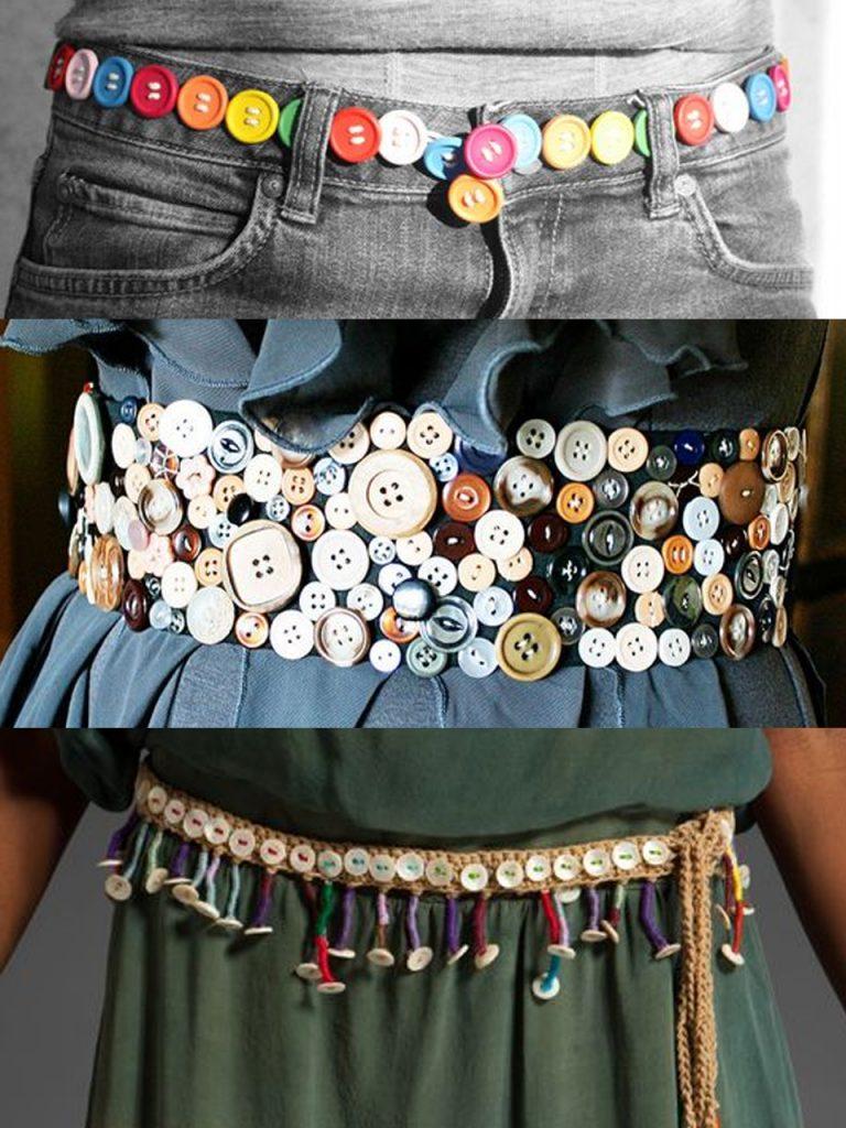 cinturones con botones de colores