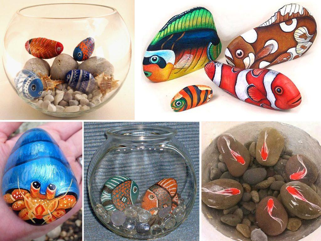 peces con piedras pintadas