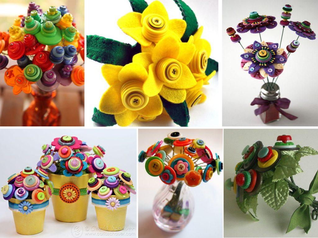 flores con botones de colores