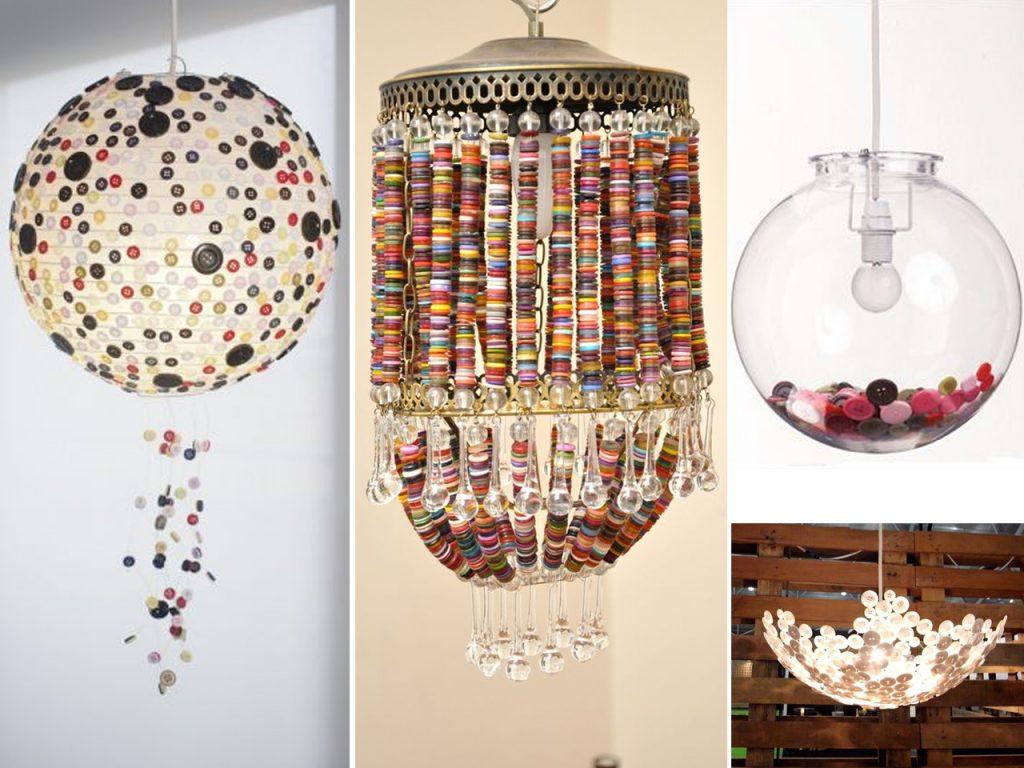 decorar lámparas con botones