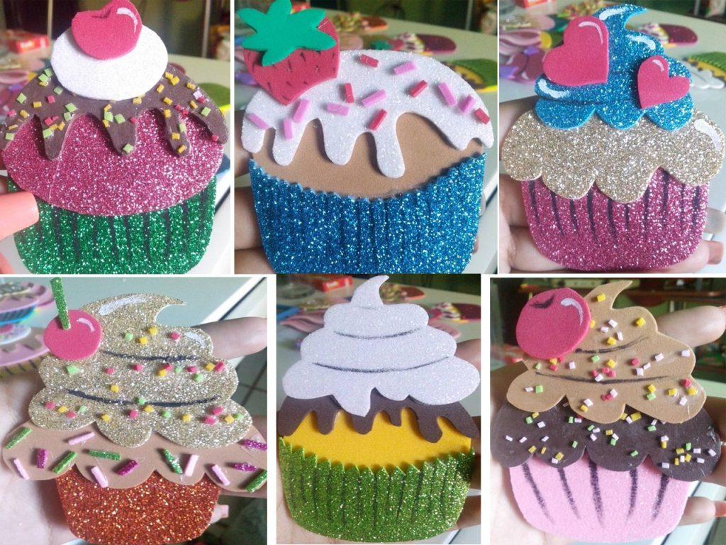 cupcakes de goma eva colgantes