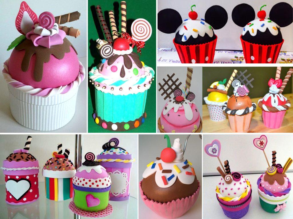 cupcakes de goma eva para cumpleaños