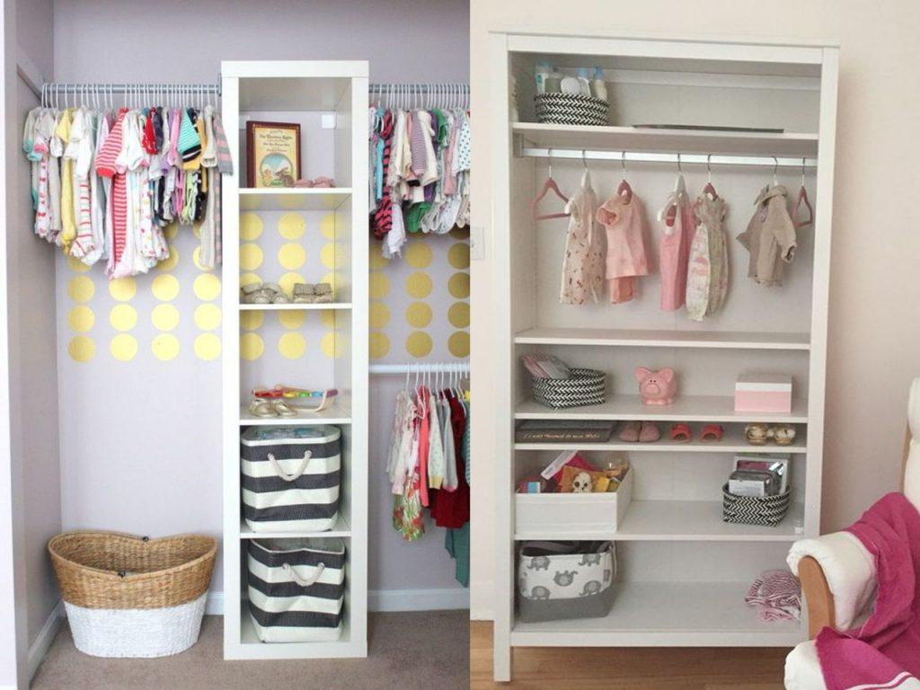 armario de bebe con estanterías