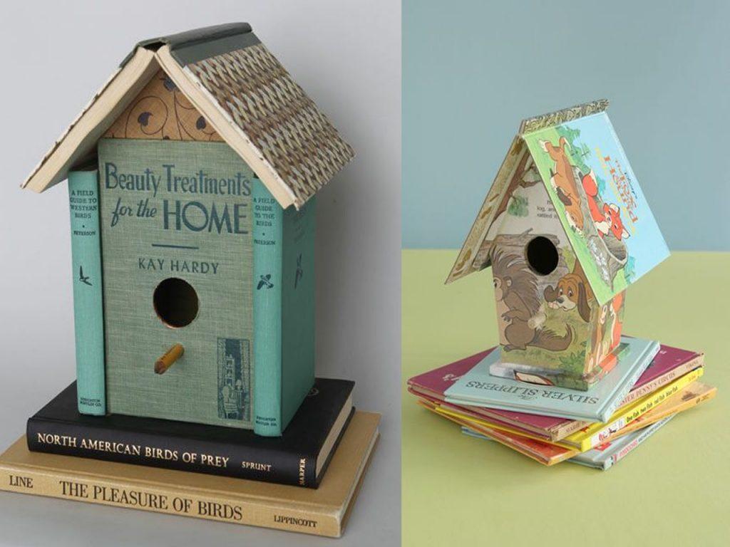 casitas de pájaros con libros