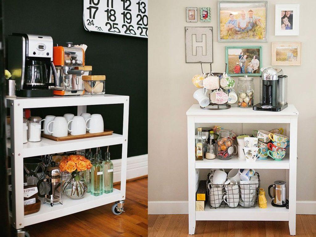 muebles de café con estanterías
