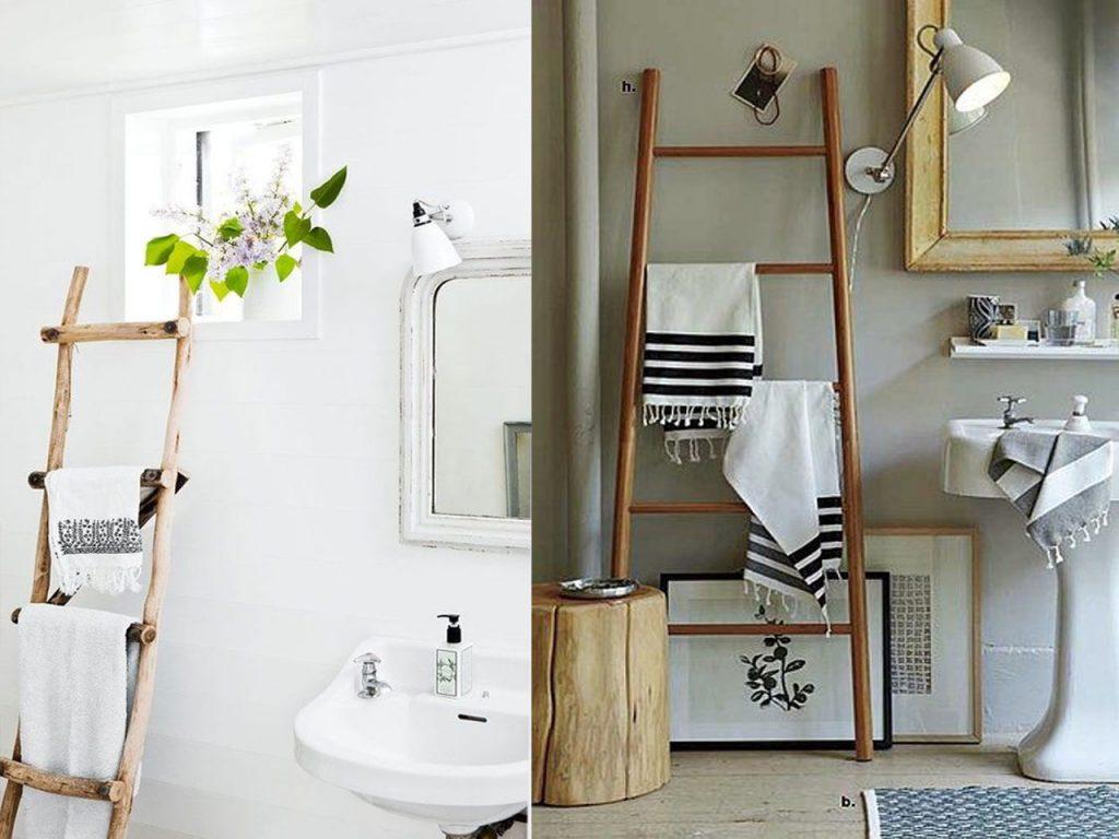 escaleras de madera en el baño