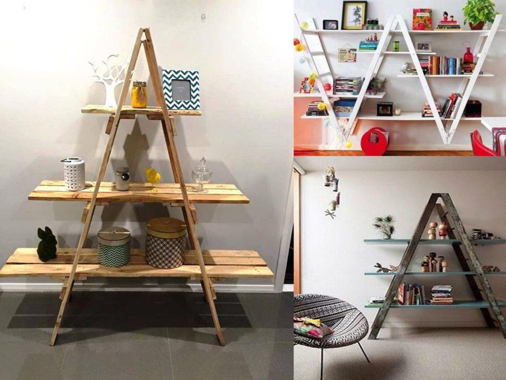 estanterías con escaleras de madera