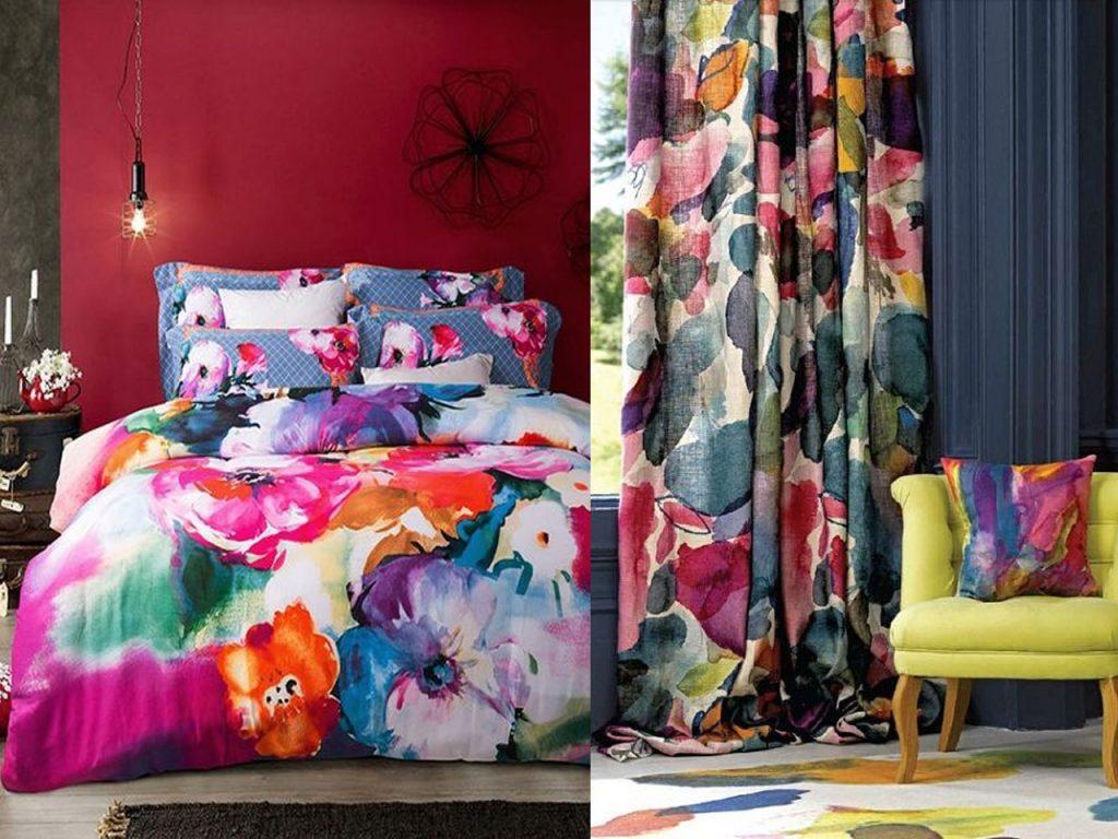 textil del hogar con estampados de flores