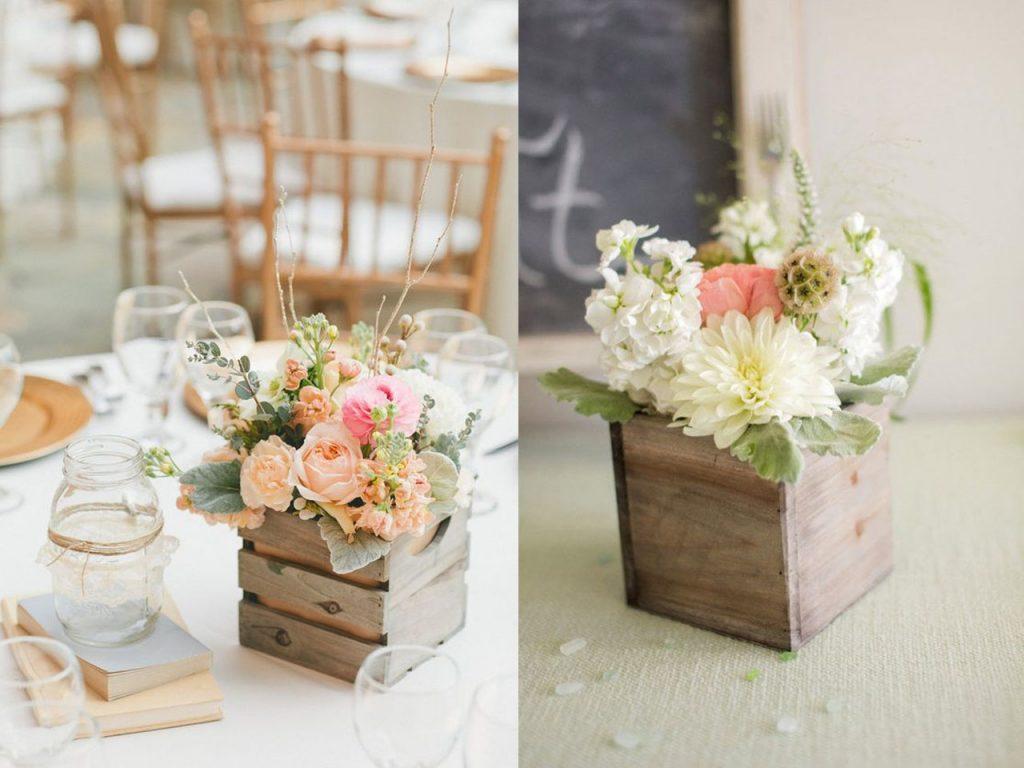 7 centros de mesa para la decoraci n de bodas originales for Mesa con cajas de fruta