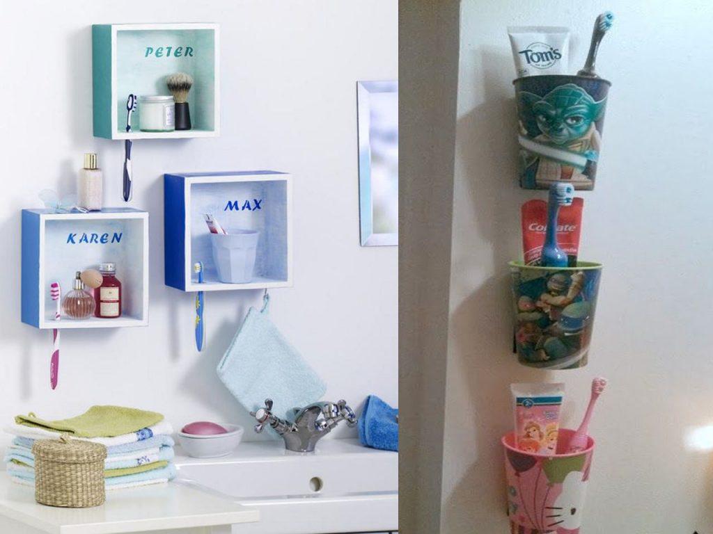 ordenar los cepillos de dientes de los niños