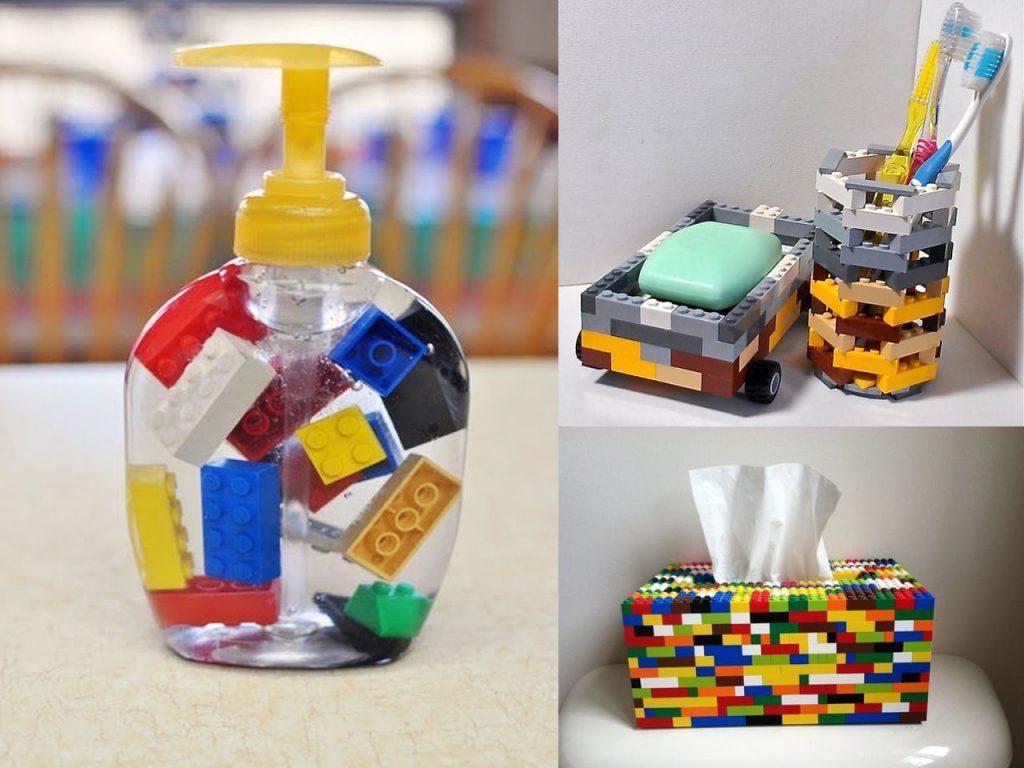 accesorios de baño con lego