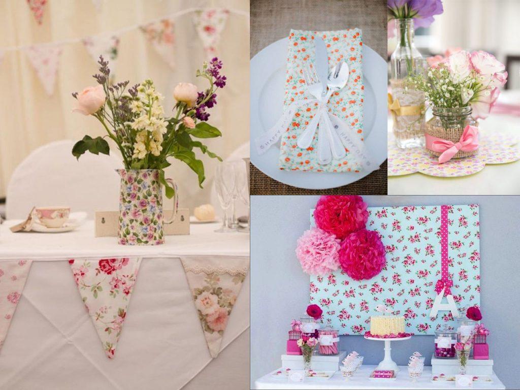 decorar la mesa con estampados de flores