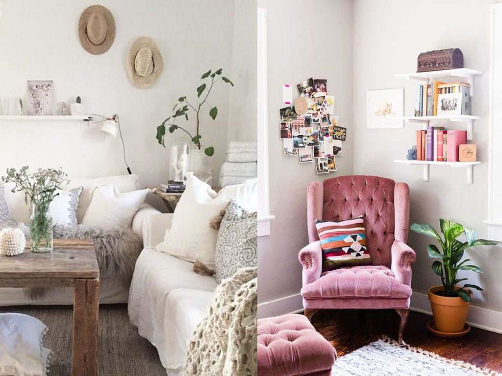 sofá decoración de casas acogedoras