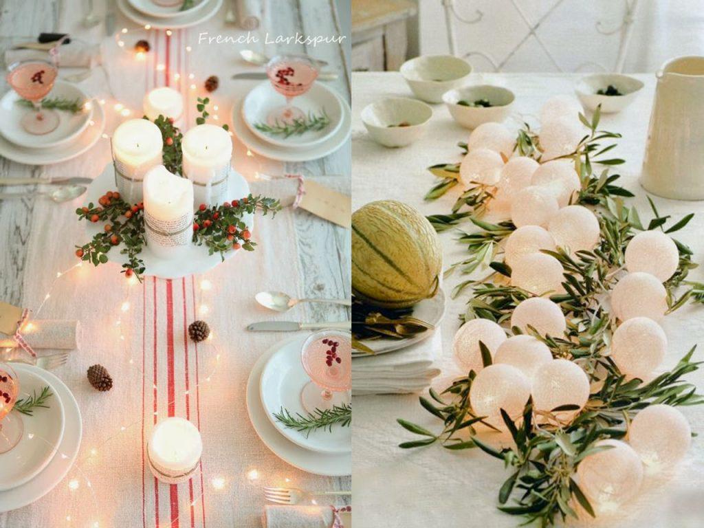 decoración mesa Navidad luz