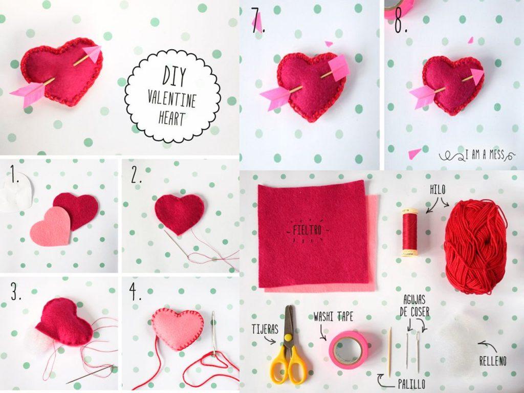 manualidades originales para San Valentín corazones fieltro
