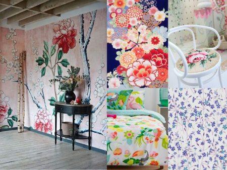 decoración con plantas estampados florales