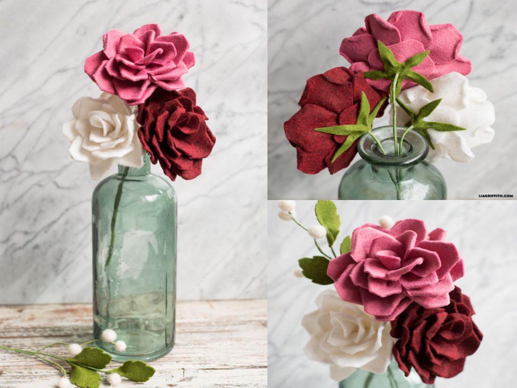decoración con rosas fieltro