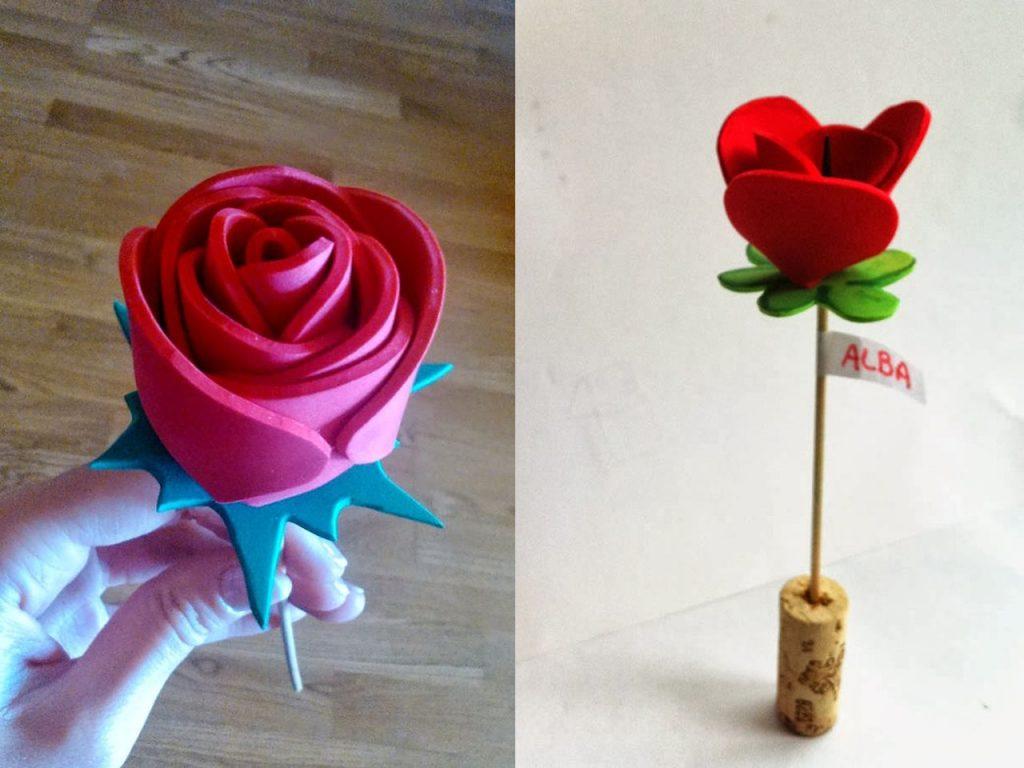 decoración con rosas goma eva