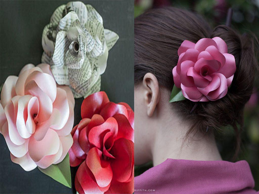 decoración con rosas complemento pelo