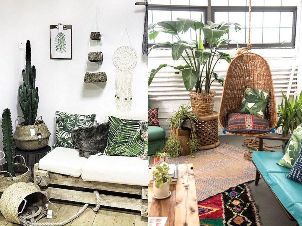 decoración tropical para el salón mimbre