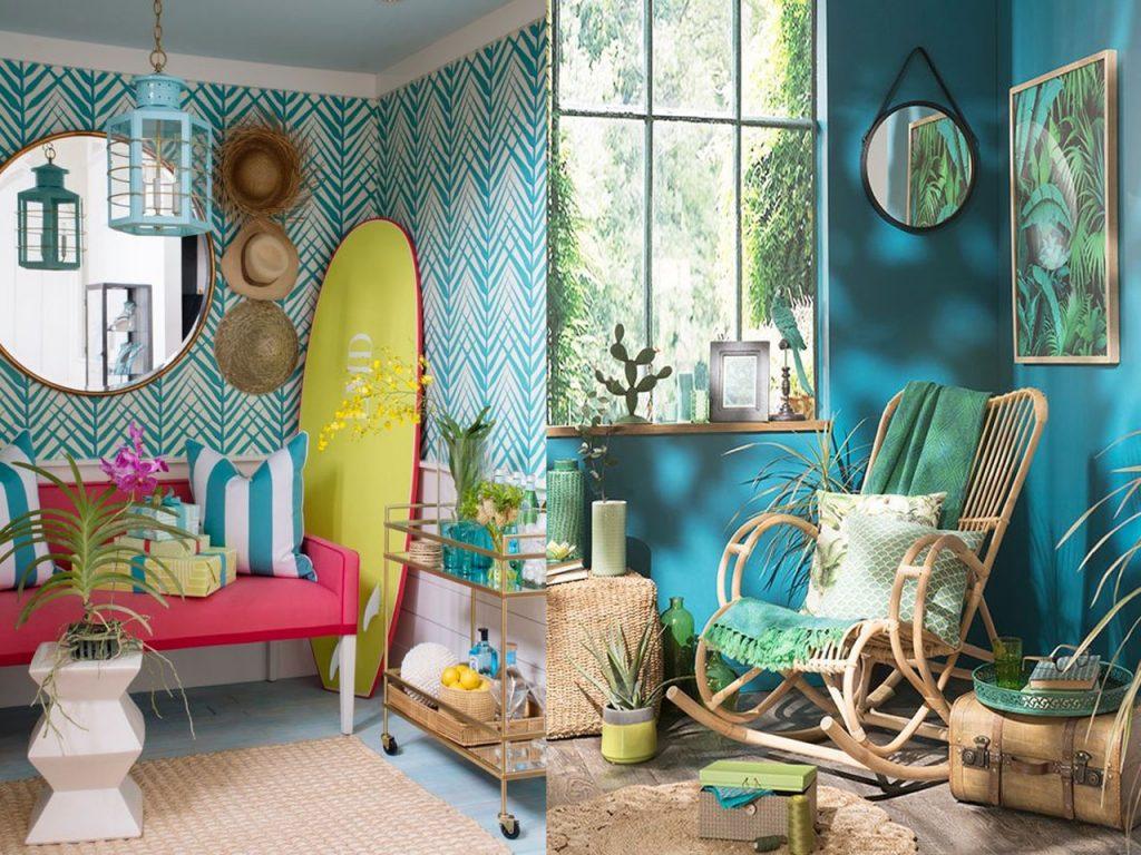 decoración tropical para el salón azul y verde