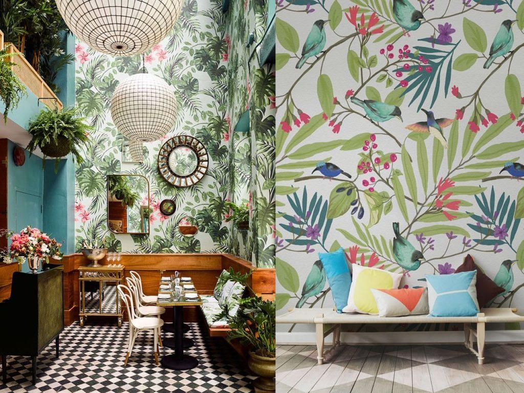 decoración tropical para el salón contraste