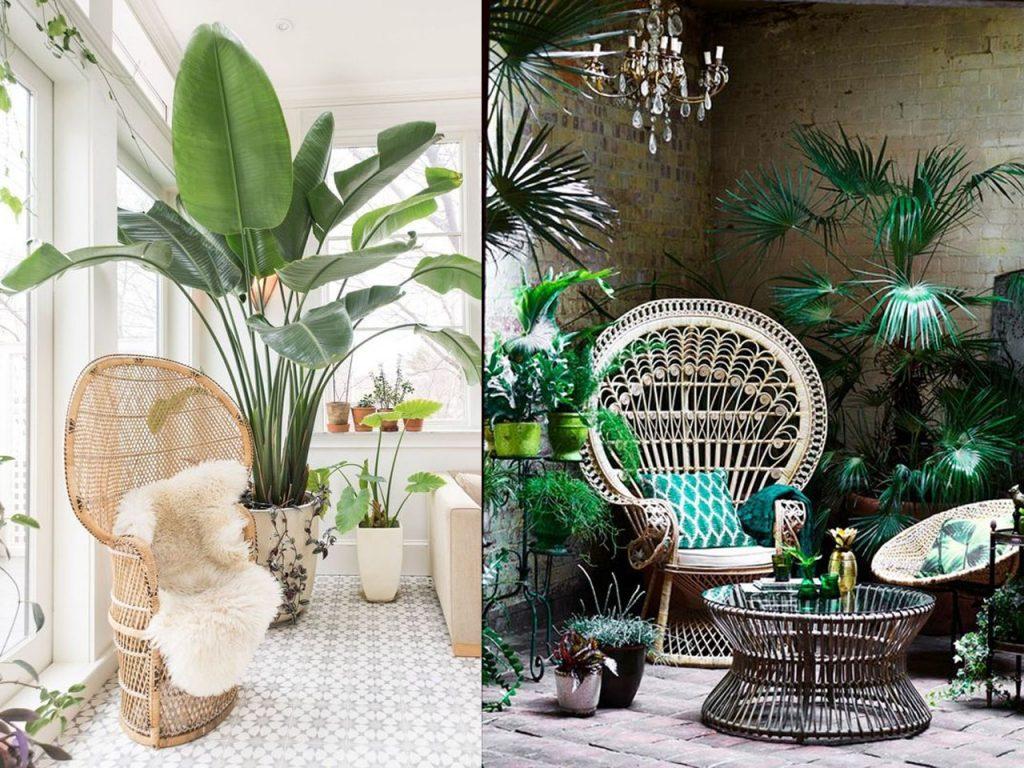 decoración tropical para el salón fibras naturales