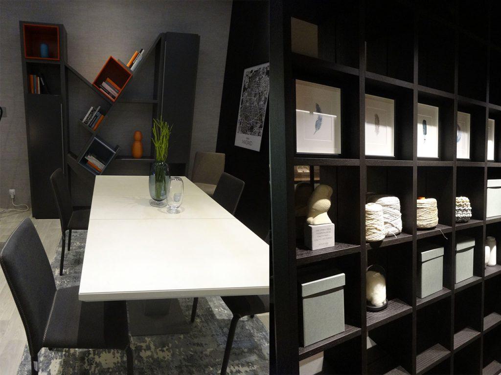 muebles en negro estantería