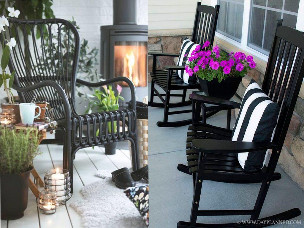 muebles en negro sillas jardines