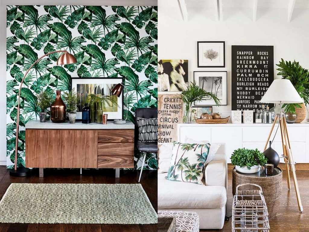 decoración tropical para el salón