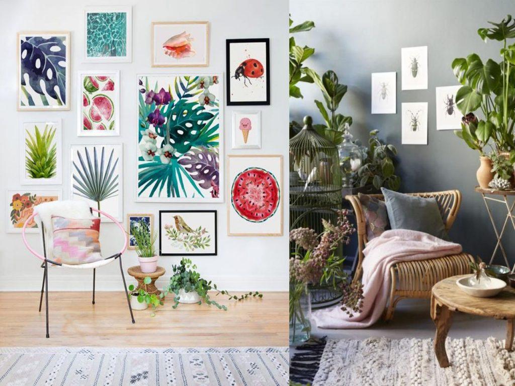 decoración tropical para el salón colores