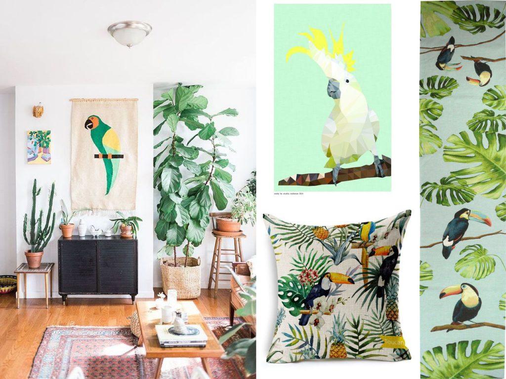 decoración tropical para el salón aves del paraíso