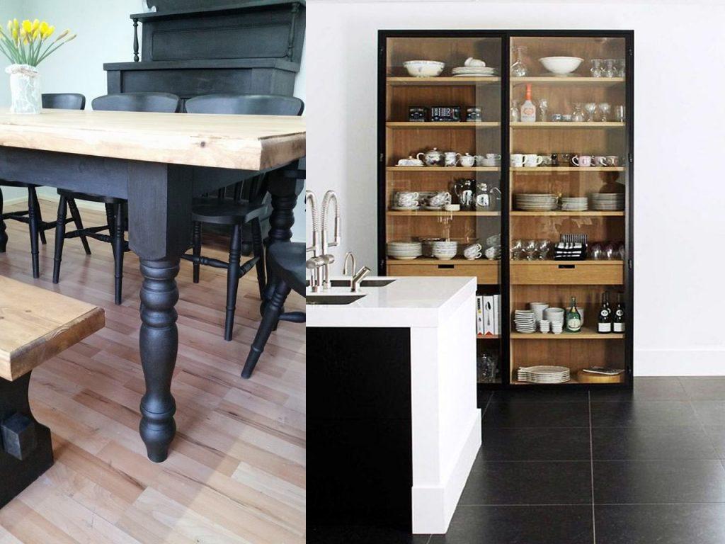 combinación muebles en negro