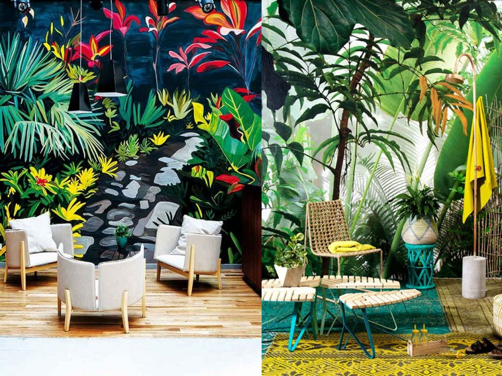 decoración tropical para el salón papel pared