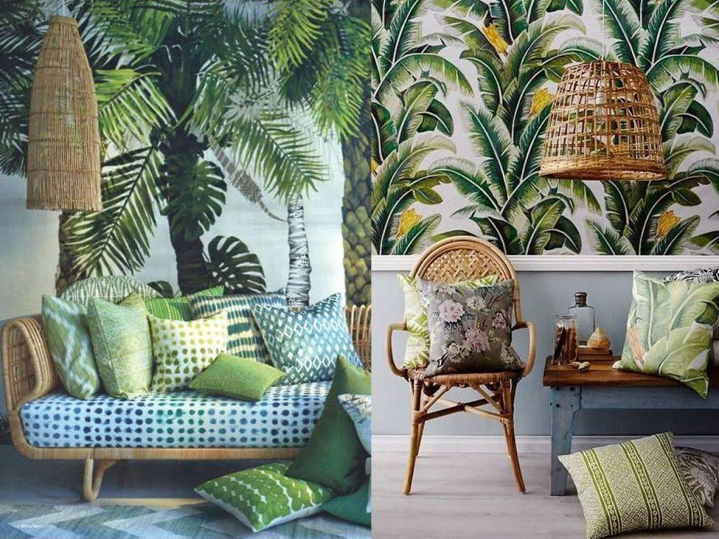 decoración tropical para el salón ratán