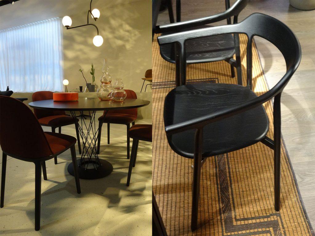muebles en negro sillas